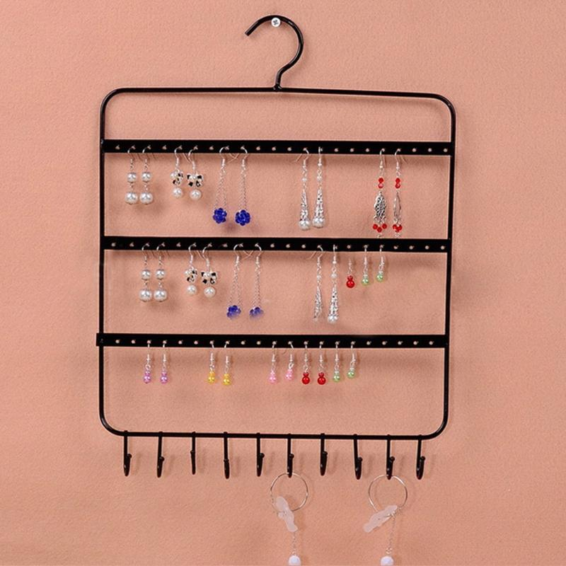 Jewelry Organizer Stand 66 Holes And 10 Hooks Wall Earring Organizer Jewelry Hanging Holder Necklace Earring Display Rack Holder