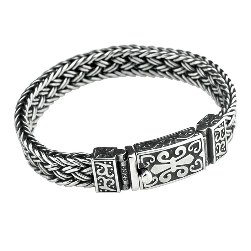 Image 5 - Real 925 Sterling Silver Bracelet Men's and Women's Wide 11mm Retro Punk Rock Wire Chain Chain and Bracelet Thai Silver Jewelry-in Charm Bracelets from Jewelry & Accessories