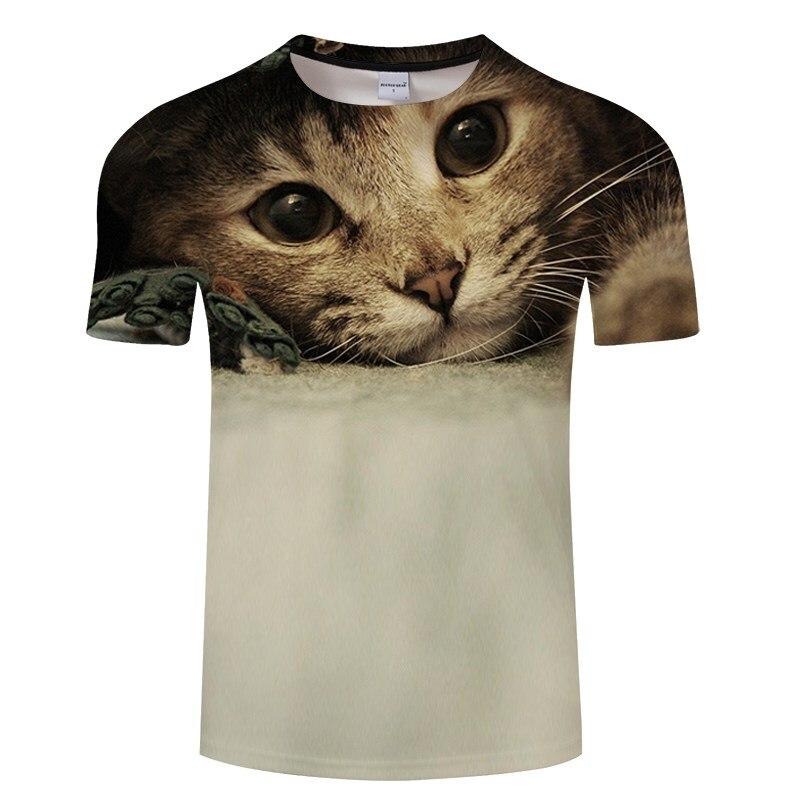 Черная футболка с 3D принтом кота для мужчин и женщин, летняя повседневная футболка с коротким рукавом и круглым вырезом, Топы И Футболки, Забавные футболки, Азиатские размеры S-6XL - Цвет: TXKH3159