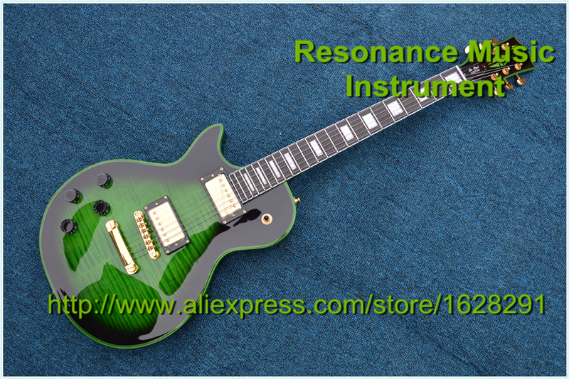 Top Quality China Music Instrument LP Custom Guitar Left Handed Vintage Green Finish Ebony Fretboard & Lefty Body Available high quality musical instrument cherry sunburst classical hollow guitar body es jazz guitars china lefty available