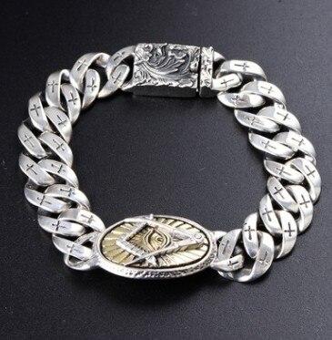 100% réel 925 bracelet en argent mauvais yeux hommes braclets 13mm main chaîne 19 cm argent 925 bijoux