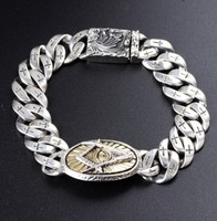 100% real 925 silver bracelet evil eyes mens braclets 13mm hand chain 19cm silver 925 jewelry