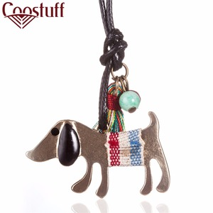 cute woman jewelry statement necklaces & pendants,long rope wax chian cat or dog pendant necklace for women collares mujer