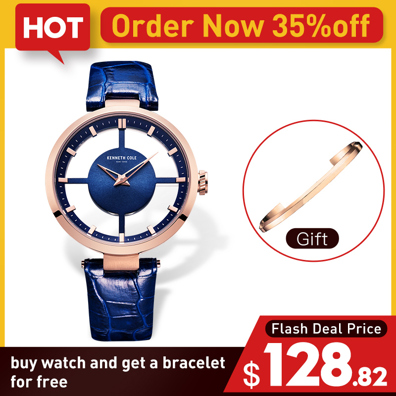 Kenneth Cole Womens Watches See through Leather Buckle Quartz Blue Waterproof Original Luxury Brand Watches For Women KC2643
