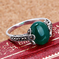2018 High quality women jewelry natural semi precious stones 925 Sterling silver Vintage boho Green chalcedony rings lovers gift