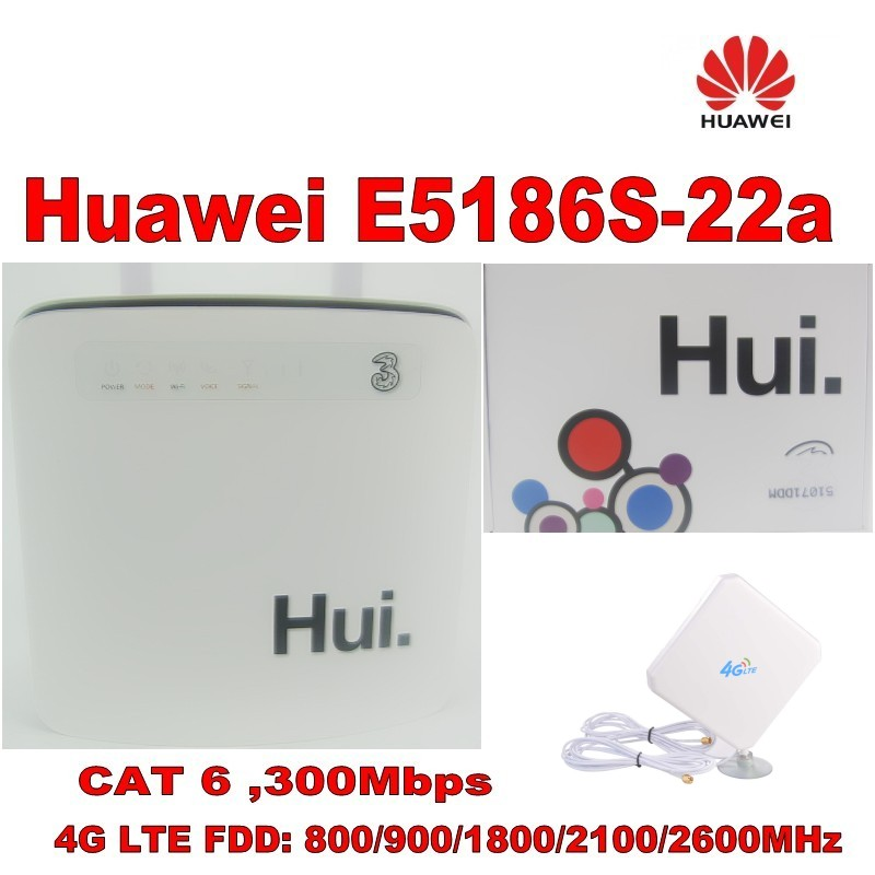 100% original unlock 300M huawei e5186s 22a 4g lte cpe super wifi router+35DBI Gain LTE Mimo Antenna-in 3G/4G Routers from Computer & Office    1