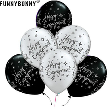 FUNNYBUNNY 10pcs 13inch Happy Engagement Elegant Sparkles Black & Silver Latex Balloons Wedding Party Decoration