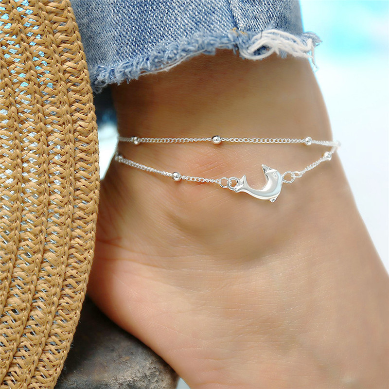 GS Stainless Steel Ankle Strap Ankles Straps For Women Lovely Fish Animal Pokemon Anklet Bracelet Foot Jewelry Summer Jewelry R5
