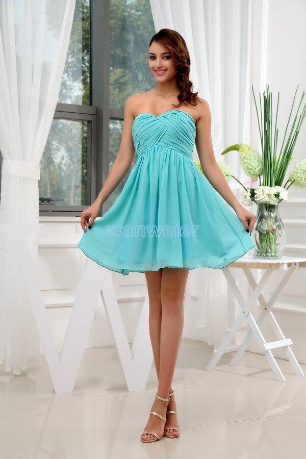 Livraison gratuite modeste 2016 nouvelle robe pli aqua vert formales en mousseline de soie grande taille chérie trompette mariée courte robe de demoiselle d'honneur