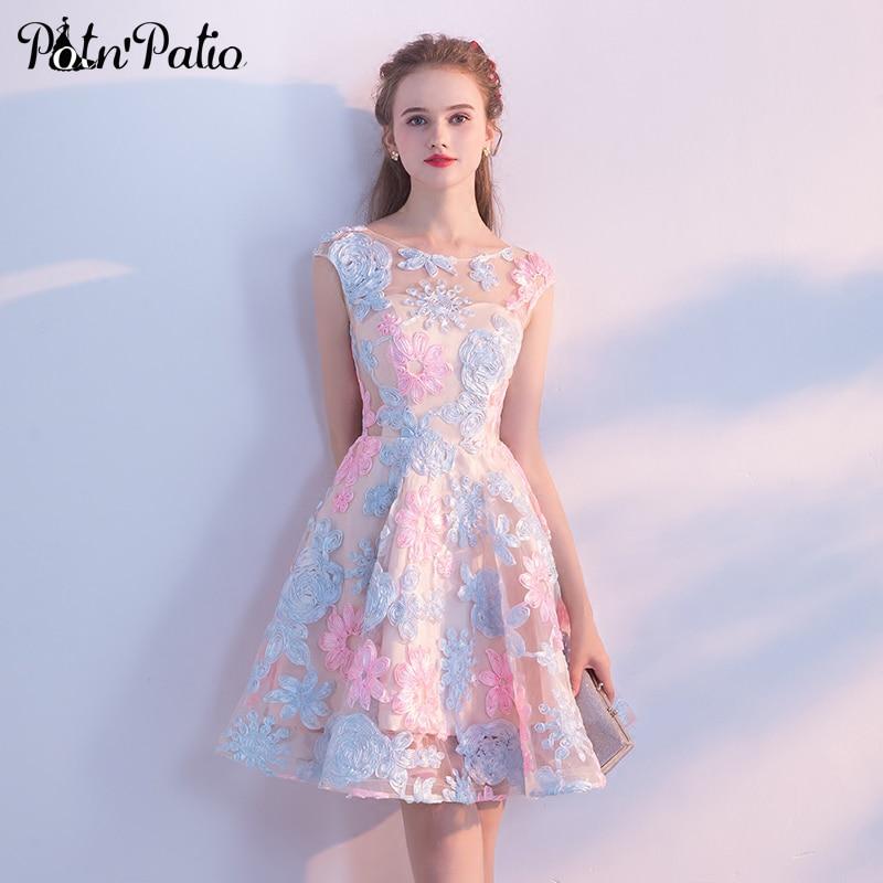 Elegant O neck Sleeveless Lace Short Prom Dresses 2018 Plus Size Gala Dress Special Occasion Dresses