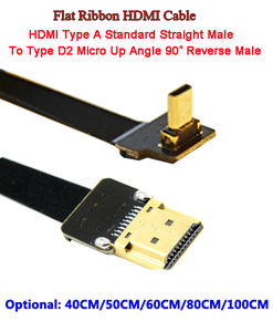 Image 1 - 40เซนติเมตร/50เซนติเมตร/60เซนติเมตร/80เซนติเมตร/1เมตรอัลตร้าบางสายHDMI FPVไมโครชายขึ้นมุม90องศาเพื่อมาตรฐานTypeAชายตรงโอ(ซ็อกเก็ต)