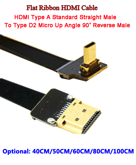 40CM/50CM/60CM/80CM/1M Ultra Thin HDMI Cable FPV Micro Male Up Angle 90 Degree To Standard TypeA Male Straight (REVERSE SOCKET)
