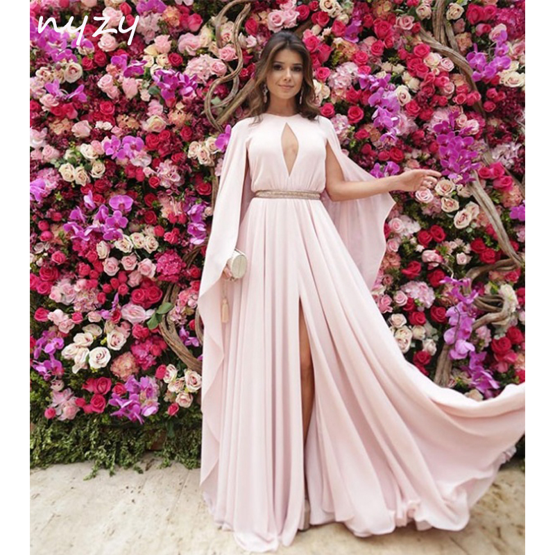 NYZY E18 Formal   Dress   Women Elegant Robe Vestido Longue Sexy Open Bust High Leg Slit Cloak Cape Long Sleeves   Evening     Dress   2019