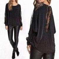 M XXXL 2015 Spring Autumn Fashion Women T Shirt O Neck Loose Sexy See Through Lace