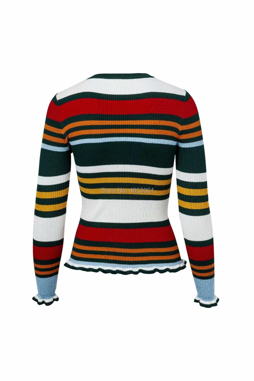 Slim Arco Suéter Pic Color Jersey Cuello Nueva Señoras fit Striped Mujeres Redondo A Contraste Rayas Pullover 2018 Iris Punto De w As 1qzUAwfW6