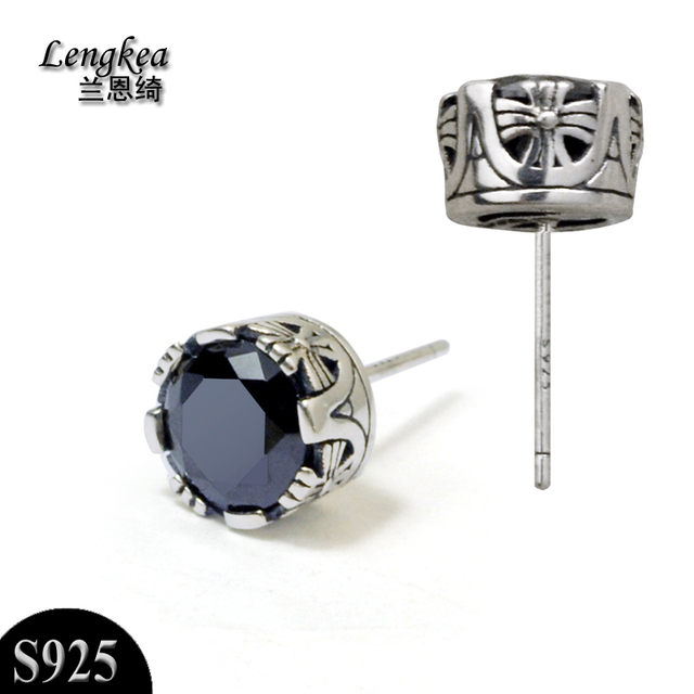 Men Earrings 925 Silver Stud Vintage Crown Black Gem Earring For Women Piercing Charms Trinket
