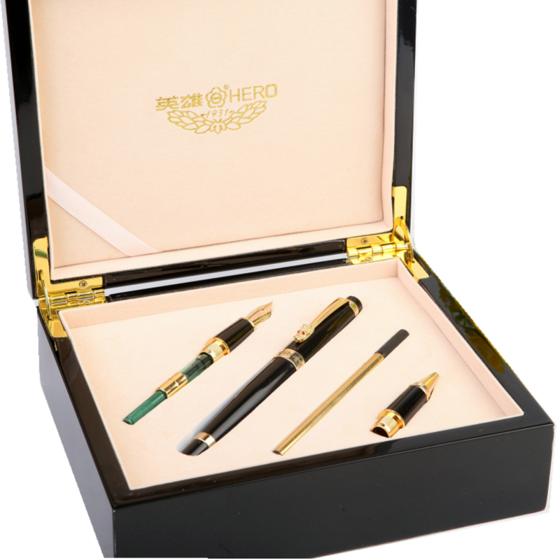 1 set Hero 1111 Iraurita Fountain Pen Rollerball/Calligraphy Pens High End Unique Pens Wooden Box Office Gift Free Shipping most popular duke confucius bent nib art fountain pen iraurita 1 2mm calligraphy pen high end business gift pens with a pen case