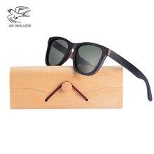 Мужские солнцезащитные очки в деревянной оправе AN SWALLOW, классические бамбуковые очки с поляризационными зеркальными линзами, UV400, ручная работа