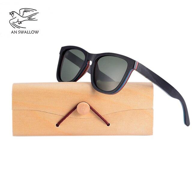 EINE SWALLOW MARKE DESIGN Männer Sonnenbrille Bambus Sonnenbrille Handgemachte Holz Rahmen Polarisierte Spiegel Objektiv Klassische Gafas de sol UV400