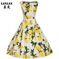 LANLAN XS-4XL Lemon Printing Swing 1950s Dress 2016 Lemon Printing Midi Length Vintage Tutu Dresses Women Plus Size Summer Dress
