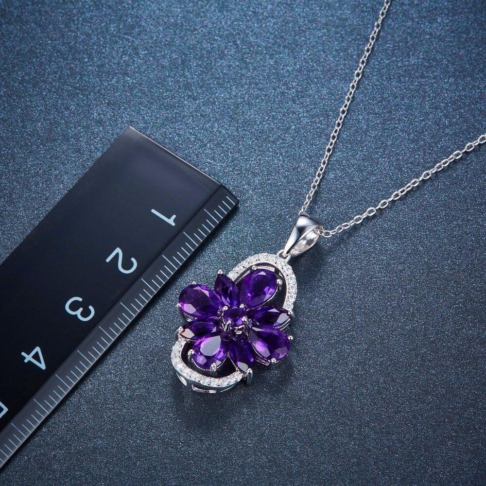 c4702de465c4 Hutang colgantes de piedra maciza 925 plata esterlina de piedras preciosas  naturales amatista Africana collar de las mujeres de cristal joyería en  Colgantes ...