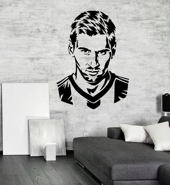 Handsome Football Player Messi Silhouette Wall Decal Home