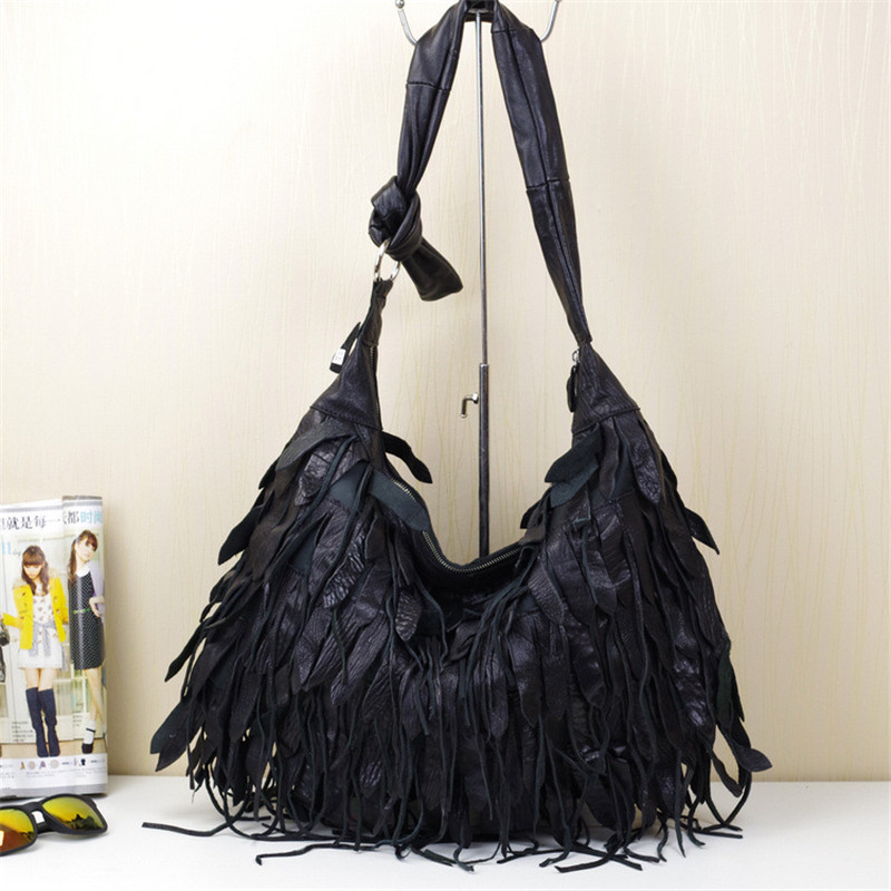 f1553f9e15 Caerlif sheepskin leather bag unique tassel patchwork bag personalized bag  national fashion trend women s handbag shoulder bag-in Shoulder Bags from  Luggage ...