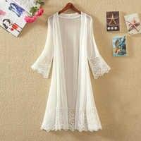 Cardigãs de verão plus size kimono cardigan blusa de renda longa blusa transparente bordado camisa feminina 2019 branco topo boho túnica