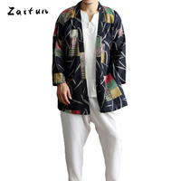 ZAITUN Summer New Folk Flower Print Men Shirts Linen Cotton Long Style Open Stitch Collarless Brand