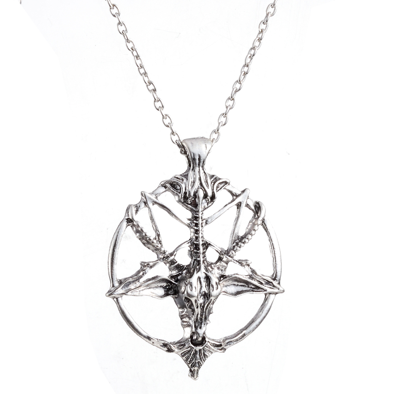 Baphomet Pentagram Devil Satan Goat Head Occult Neclace Silvered Chain Pendant Strengthening Sinews And Bones Costume Jewellery