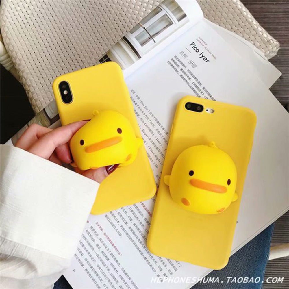 3D Yellow Duck Holder <font><b>Case</b></font> For <font><b>Vivo</b></font> Y51 <font><b>Y53</b></font> Y55 Y66 Y67 Y69 Y71 Y75 Y79 Y83 Y85 Y91 Y93 Y95 Y91C Y97 Squeeze Stress Soft Cover image