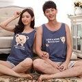 Novos Pijamas de Verão Sem Mangas Pijamas Conjuntos de Pijama Casal Urso Dos Desenhos Animados Impressão Sleepwear Para As Mulheres Homens Azuis Calças de Pijama Listrado