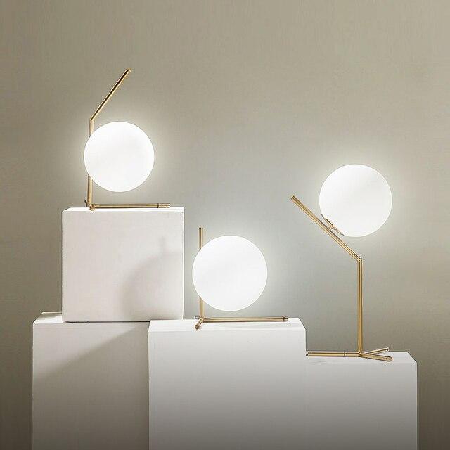 Moderne Glas Tischlampen Nordic Einfache Schlafzimmer Schreibtisch Lampe  Dekoration LED Tischleuchten E27 Lamparas Beleuchtung