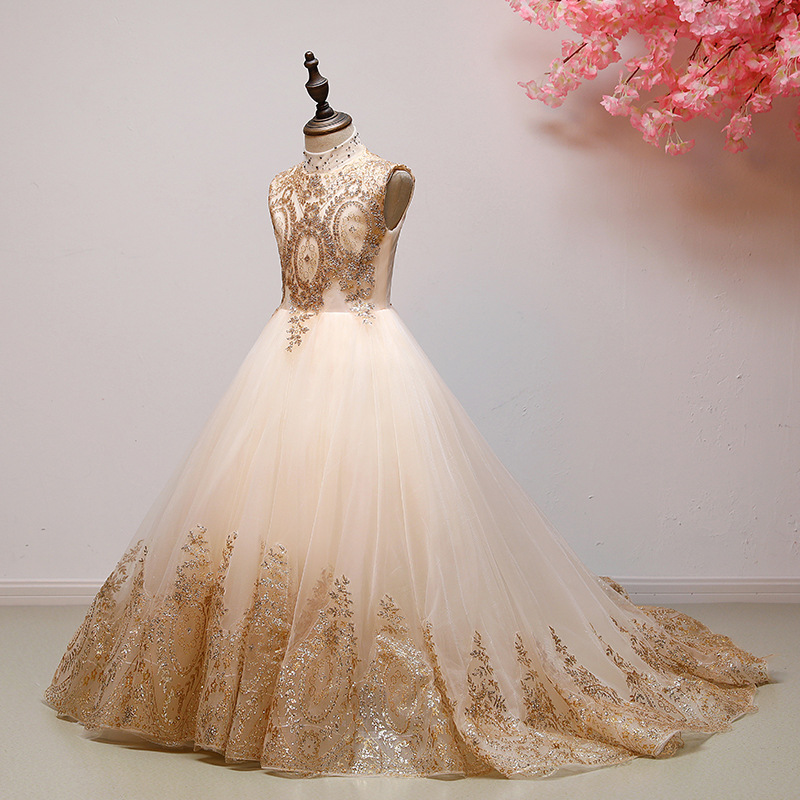 Girl Boutique Dress Flower Girl Dresses Kids Wedding Party Wear Frocks Teenagers Bridesmaid Prom Gowns Beading Embroidery Drese 1