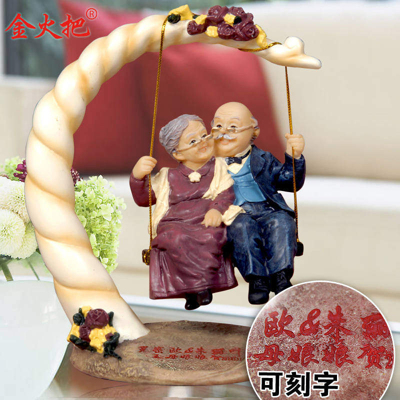European style garden resin crafts doll ornaments elderly for Gift for anniversary for couple