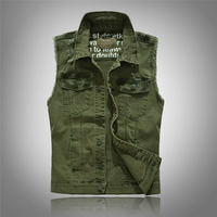 2017 новый бренд мужской clothing повседневная твердые denim жилет кнопку армия Зеленый Джинсовые Жилет Мужской Моды Мыть Плюс Большой Размер 3XL