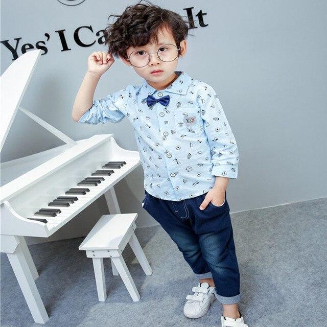dfee60361 Gentleman Baby Boy Clothes Set Autumn Print Shirt + Bow Tie + Jeans ...