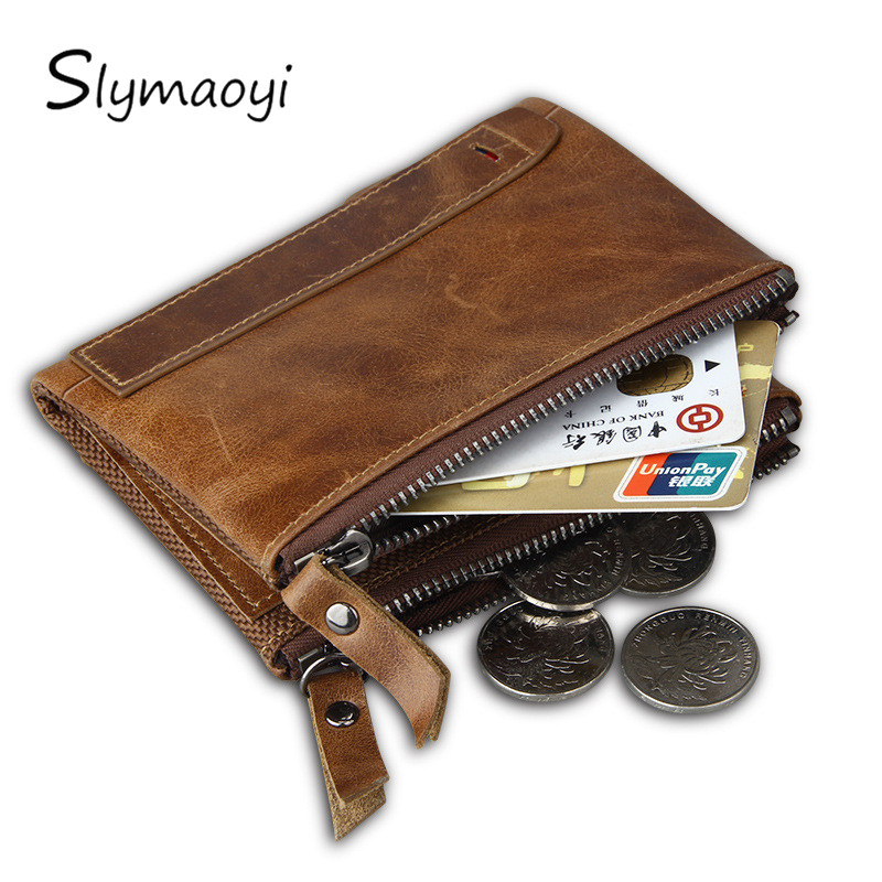 Slymaoyi 100% Genuine Leather Men Wallet Small Zipper Men Walet Portomonee Male Short Coin Purse Brand Perse Carteira For Rfid kavis genuine leather long wallet men coin purse male clutch walet portomonee rfid portfolio fashion money bag handy and perse
