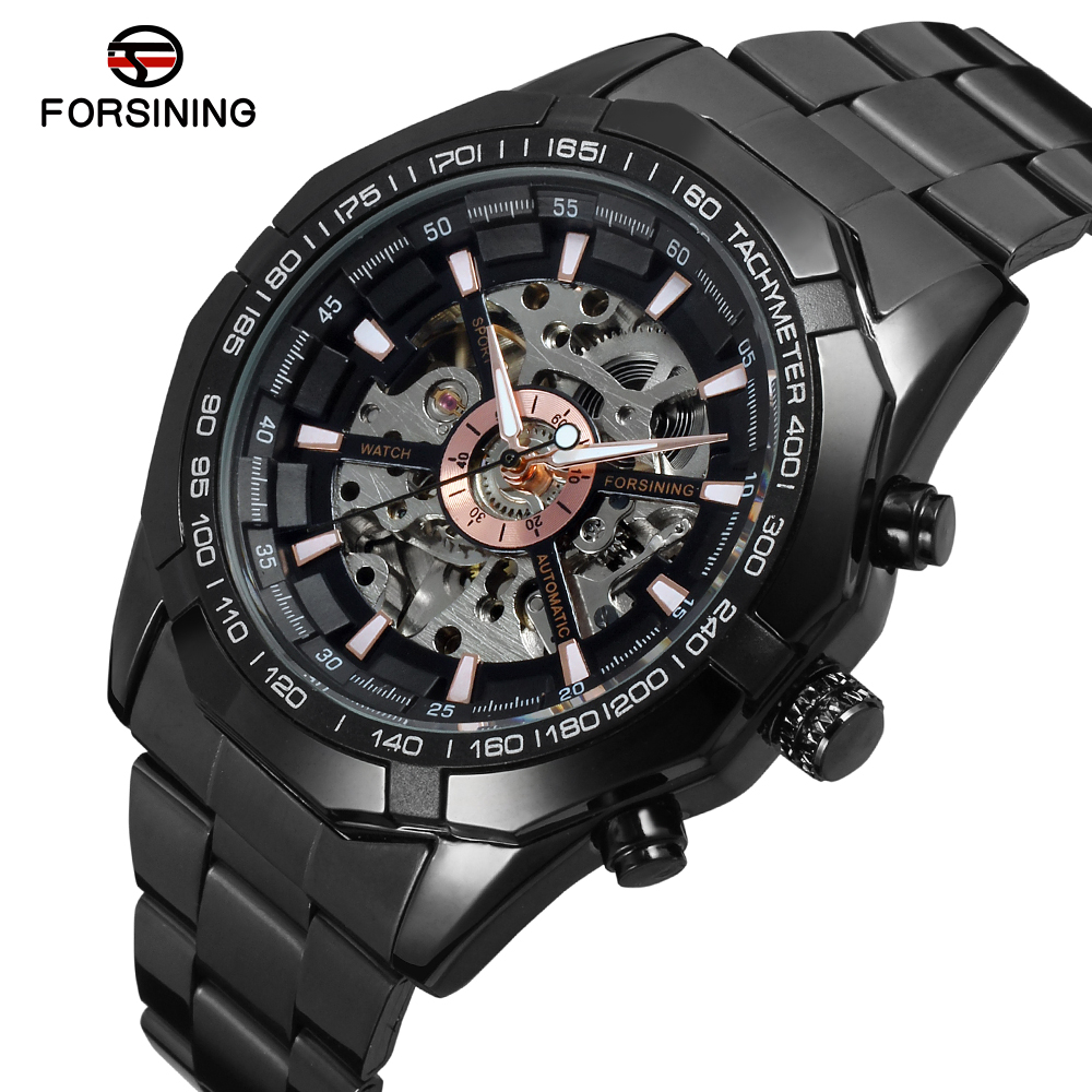 FORSINING Mens Watch Antique Skeleton Stainless Steel Bracelet Wristwatch Color Gold FSG8042M4