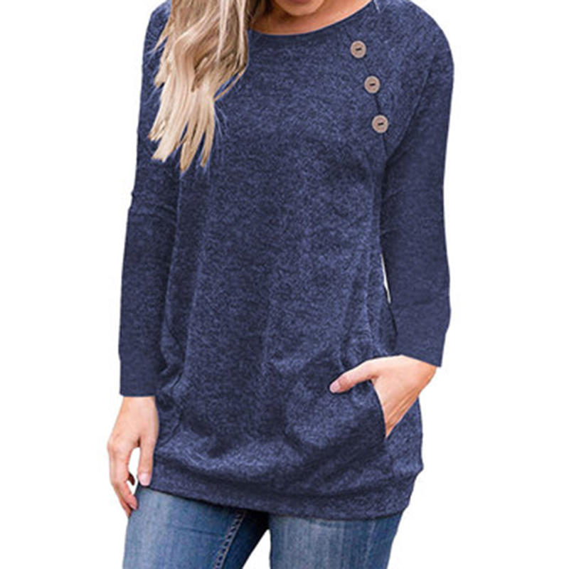 New Basic T Shirt Winter Autumn Women T-Shirts O-Neck Long Sleeve Top Casual Buttons Pockets Bottoming Tee Shirt Plus Size GV579