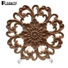 RUNBAZEF, apliques de tallado de madera para muebles, decoración náutica Vintage, calcomanías sólidas para puertas de armarios, diseño de flores, artesanías talladas