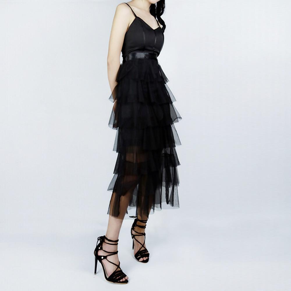 Moda Sexy vestidos de mujer negro espalda descubierta Spaghetti Strap vestidos largos señoras de corte bajo cuello en V vestidos de fiesta de verano nuevos Ins - 5