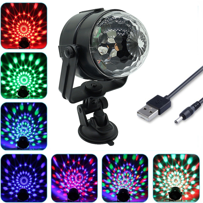 Trecaan 3W Auto Voice Control Car Magic Ball RGB LED Stage light RGB colorful Disco DJ Mini Rotating for party KTV Show novelty glass magic plasma ball light 3