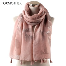 FOXMOTHER Autumn Winter Floral Scarves Muslim Hijab Mousseline Flower Wrap Pashmina Foulards Tassel shawl Women