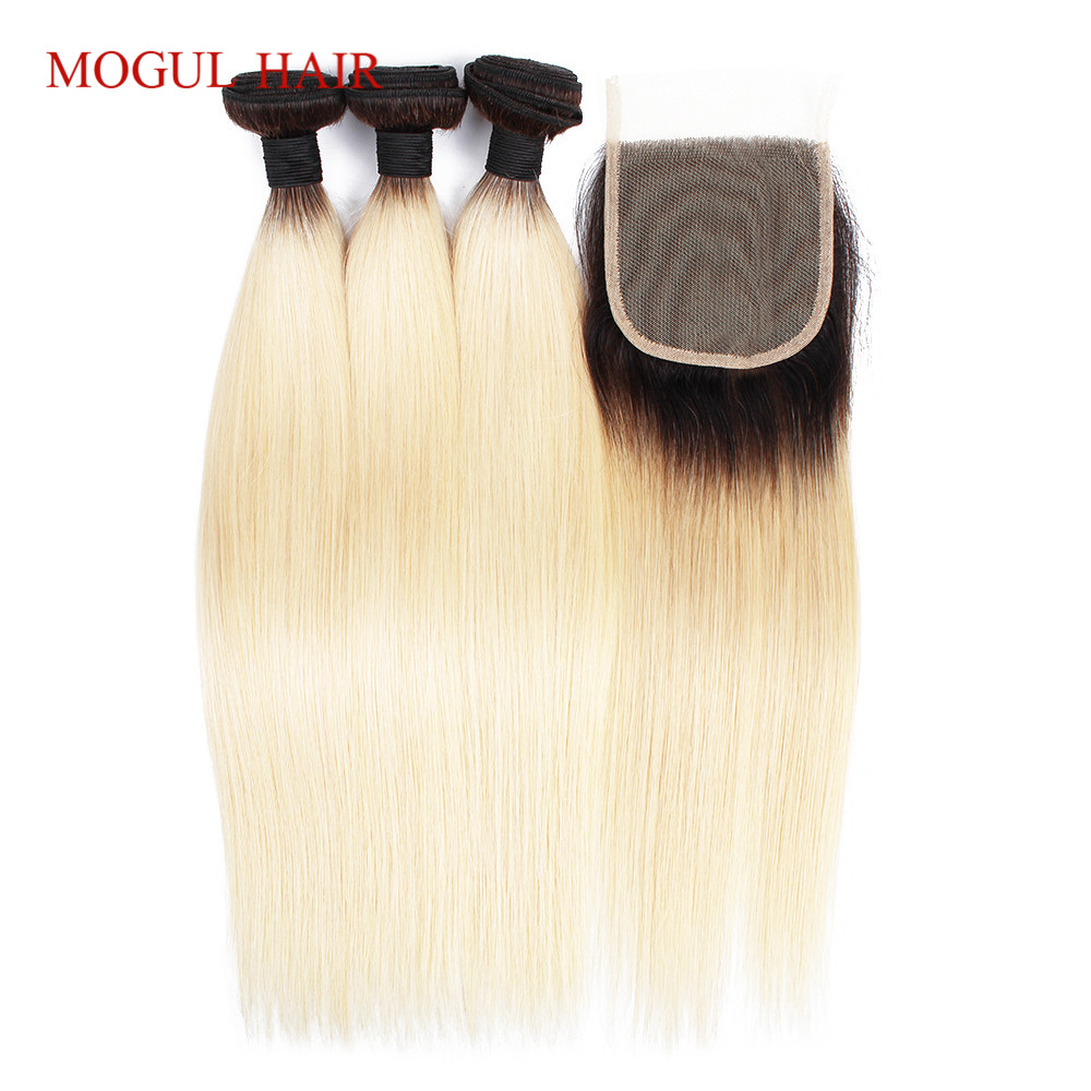 MOGUL HAIR T 1B 613 Dark Root Platinum Blonde Bundles with Closure 2 3 Bundles With