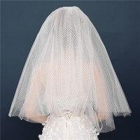 Wholesale Velo Sposa Vintage Puffy Short Wedding Veils Womens Elbow Length Widest Ivory Bridal Veils Bridal Accessories Mariage