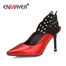 ENMAYER New Fashion Wings High Heels Pointed Toe Sexy Red Wedding Pumps Shoes Woman Genuine Leather Spring&Autumn Women's Pumps