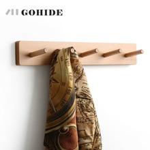 JUHD 5 en 1 mur en bois Coatrack crochet en bois massif vêtements crochet porte arrière cintres Style japonais manteaux mur Mount crochet cintre