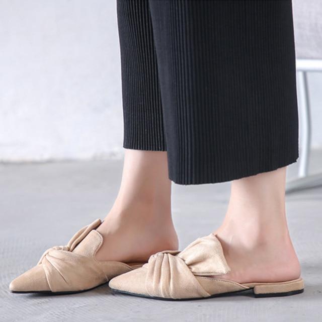 MCCKLE Women Slippers Flock Bowtie Female Mules Fashion Low Heels Shoes Pointed Toe Ladies Plus Size Elegant Woman Slipper 4