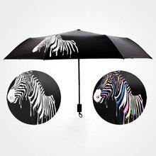 JPZYLFKZL Black Water Discoloration Zebra Umbrella Rain Women Windproof Folding Umbrellas Colour